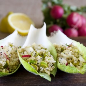quinoa salad in endive cups