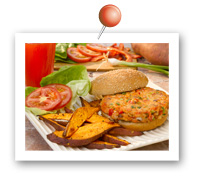 Click to view larger image of Salmon Burgers and Sweet Potato Oven Fries : Fill Half Your Plate with Fruits & Veggies : Fruits And Veggies More Matters.org