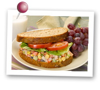 Click to view larger image of Shrimp Confetti Salad Sandwich w/Grapes : Fill Half Your Plate with Fruits & Veggies : Fruits And Veggies More Matters.org