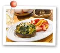 Click to view larger image of Herbed Spinach Quiche Portabella Caps : Fill Half Your Plate with Fruits & Veggies : Fruits And Veggies More Matters.org
