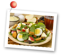 Click to view larger image of Spinach Salad with Apples and Eggs : Fill Half Your Plate with Fruits & Veggies : Fruits And Veggies More Matters.org