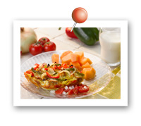Click to view larger image of Bell Pepper and Vidalia Onion Strata with Fresh Salsa : Fill Half Your Plate with Fruits & Veggies : Fruits And Veggies More Matters.org