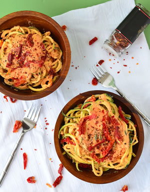 Zucchini Noodles with High-Protein Pesto