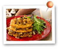 Click to view larger image of Sweet Potato Pancakes w/Maple Mushrooms : Fill Half Your Plate with Fruits & Veggies : Fruits And Veggies More Matters.org