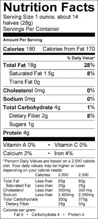 Nutrition label for Walnuts (English)