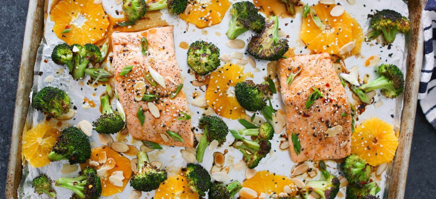 Sheet Pan Salmon With Charred Broccoli Oranges And Asian Dressing Have A Plant